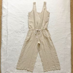 New Cloth & Stone Linen Cropped Wide Leg Jumpsuit
